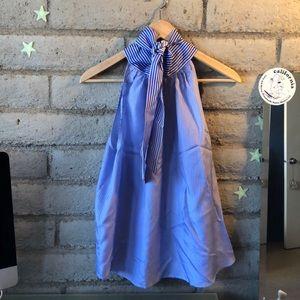J. Crew Striped Silk Tie-Neck Top